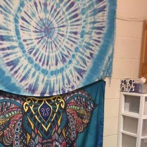 Tapestry blue tie dye purple tassels